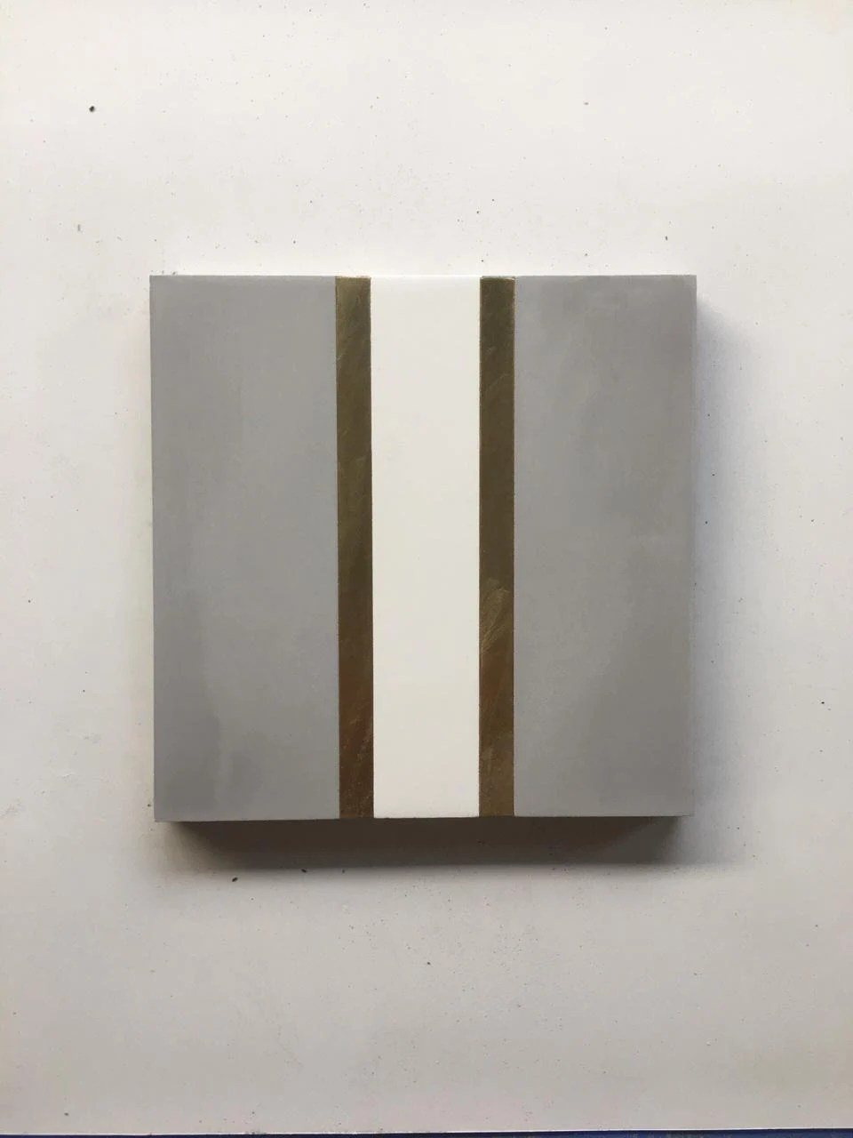 stripe grey cement tile with brass