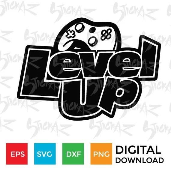 Download Level Up Controller Xbox Playstation Video game SVG eps   Etsy