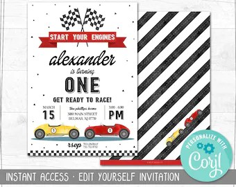 race car birthday invitation etsy