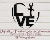 I love Ballet, Ballerina SVG, Ballet svg, Dance svg, Digital Download, File for Cricut, Silhouette, Commercial use svg  Love Hearts il 170x135