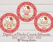 Chinese New Year 2021 | Cute Boy Ox SVG | 3 design bundle | Year of the Ox | Lunar New Year | Digital design | 新年快乐 Gong Xi Fa Cai | Zodiac  Holidays and Winter il 170x135