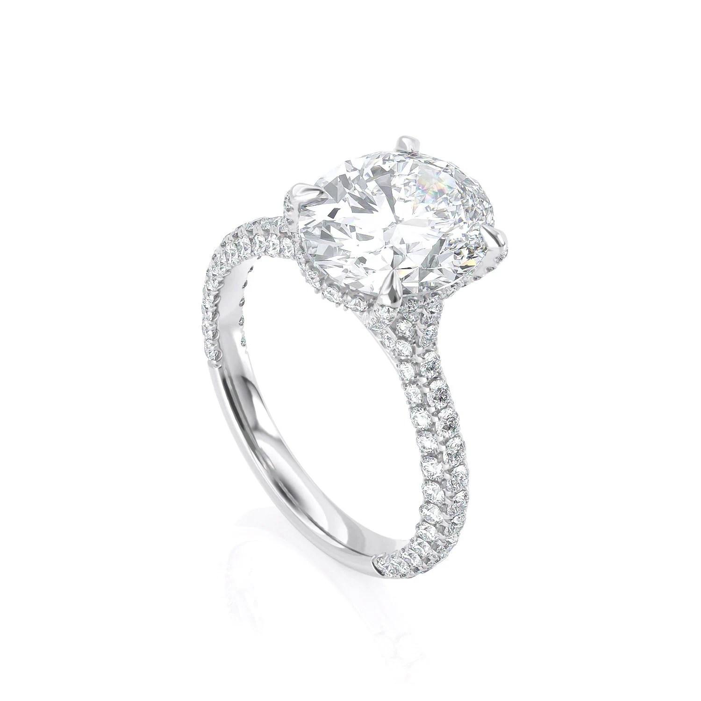 Oval Shape Engagement Ring Solitaire Moissanite White