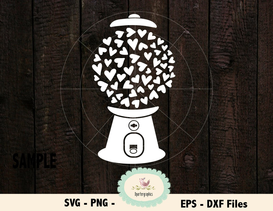 Download Heart love gumball machine SVG cameo cricut cut file heart ...