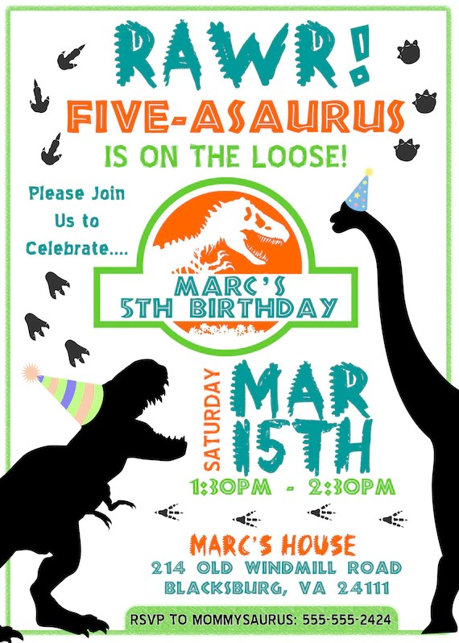 dinosaur birthday invitation five asaurus on the loose boy or girl 5 year old birthday invitation