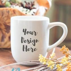 Photo Coffee Mug Mockup Rounded White Mug With Wooden Etsy