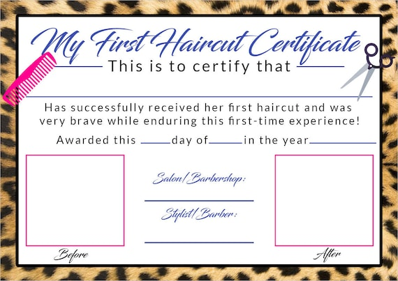 my first haircut certificate template perfect for pas or hair