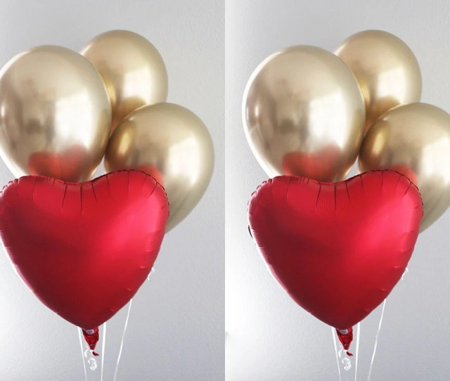 Red Satin Heart Chrome Gold Balloon Bouquet Love Balloons Valentines Day Decorations Wedding Decor Engagement Party Decor Anniversary