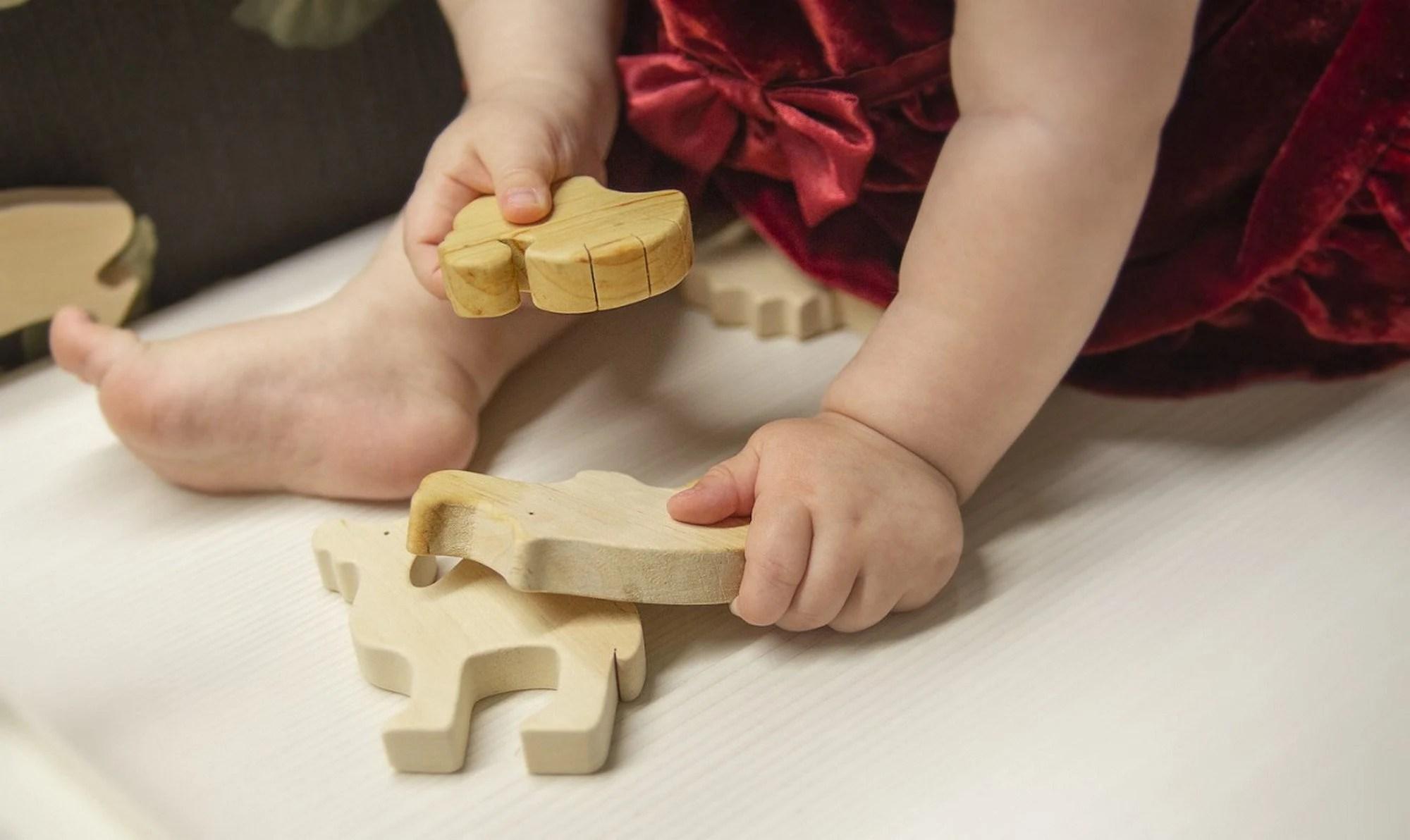 Wooden Toy Set Baby Animal Play Set Organic Wood Toys image 9