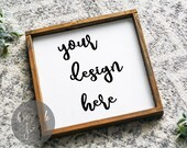 Frame Mockup Brown Wood Square Small Frame Flatlay Styled Minimalist Background Digital File Wall Art Printable Printing Business Tool