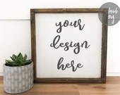 Square sign mock up with shiplap background
