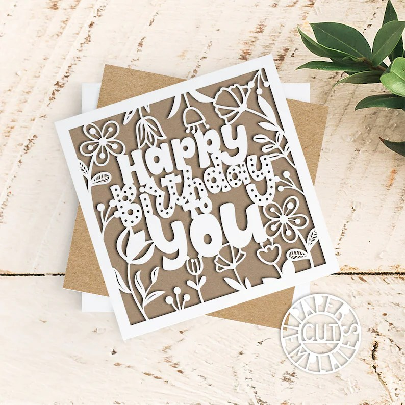 Download Silhouette & Cricut Birthday card template for laser ...