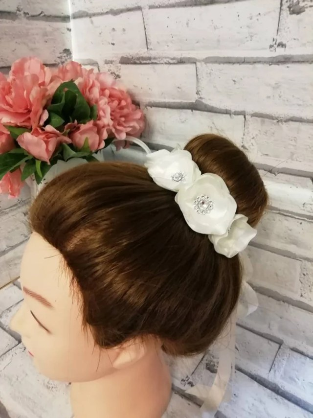 hair bun wrap bridal hair accessories ballet bun wrap wedding hair accessories floral bun wrap bun holder flower girl hair accessories