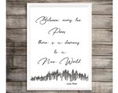 Between every two pines there is a doorway to a new world, John Muir black & white printable art quote, instant download