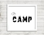 Let's Camp, black and white wilderness digital art print, available for instant download