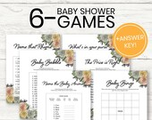 Floral Baby Shower Games, 6 Games + Answer Sheet