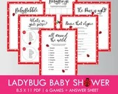 Ladybug Baby Shower, 6-Game Package + Answer Sheet