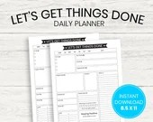 Let's Get Things Done, Daily Planner, Printable