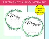 Pregnancy Announcement, May 2020, Flower Wreath, Instant Printable, Digital File