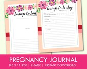 Pregnancy Journal, 2-Pages, Floral Design, Pink and Purple, Instant Download