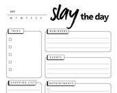 Slay the Day, Daily To-Do, Daily Checklist, Instant Printable, Unlimited Prints, Digital File