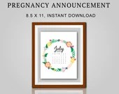 Pregnancy Announcement, July 2021, Flower Wreath, Instant Printable, Digital File