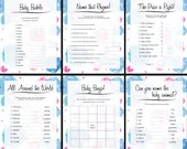 Baby Shower Games, Watercolor Spash, Pink, Blue, Instant Download, 6 Printables
