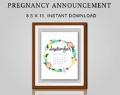 Pregnancy Announcement, September 2021, Flower Wreath, Instant Printable, Digital File