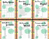 Baby Shower Games, Hawaiian, Pineapple, Instant Download, 6 Printables