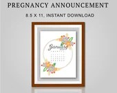 Pregnancy Announcement, January 2021, Flower Wreath, Instant Printable, Digital File