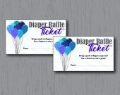 Diaper Raffle Tickets, Baby Boy, Blue Balloons, Instant Download, Printable