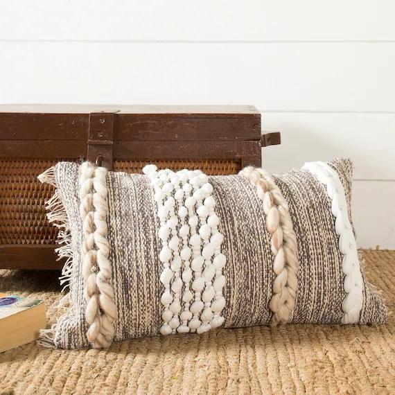 boho lumbar pillow cover handwoven textured pillow cushion lumber throw pillow rustic grey throw pillow 12 x 20 pillow cover