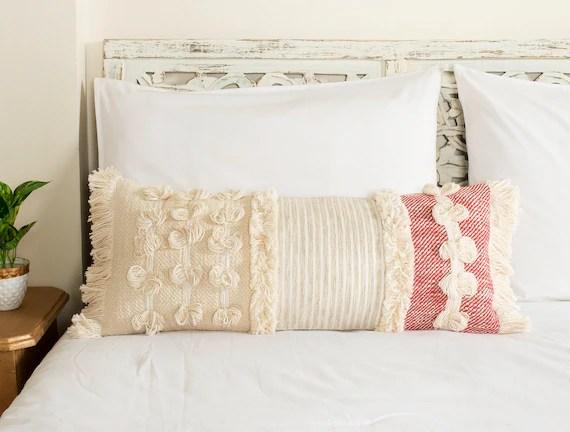 bohemian beige and pink lumbar throw pillow cover textured woven lumbar cushion extra long lumbar fringe tassel long lumbar 12 x 28 inch