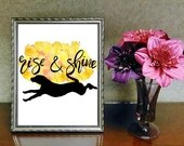 Rise & Shine Dog Printable, Watercolor Art, Lab Dog, Pet Art, Puppy, Instant Download   Front Seat Ryder