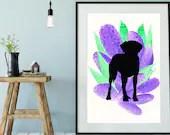 Rhodesian Ridgeback, Ridgeback Wall Art, Rhodesian Ridgeback Watercolor Print, Personalized Dog Print   Front Seat Ryder