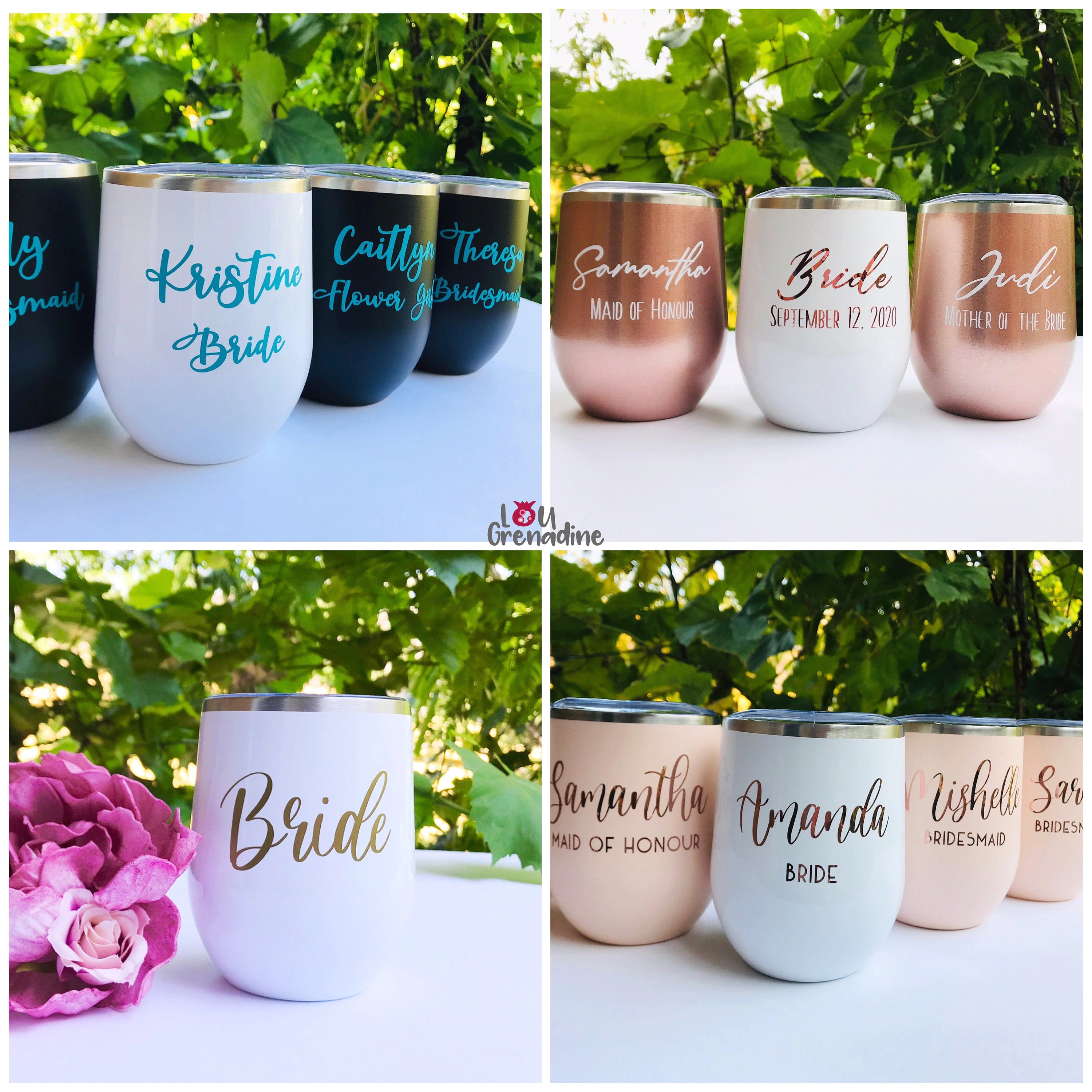 Personalized wine tumblers bachelorette party Bridesmaid image 1