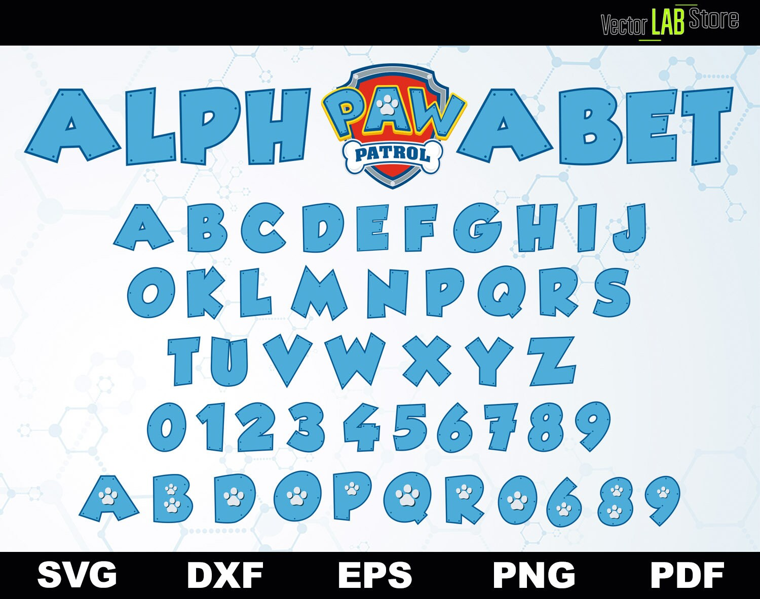 Paw Patrol Alphabet Vector Cutting Files Svg Dxf Eps