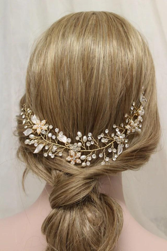 gold wedding hair vine , crystal pearl hair piece, leaf bridal headpiece, wedding hair piece, uk