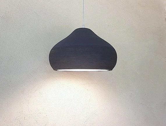 Pendant Light Black Large Ceramic Lamp Shade Kitchen Etsy