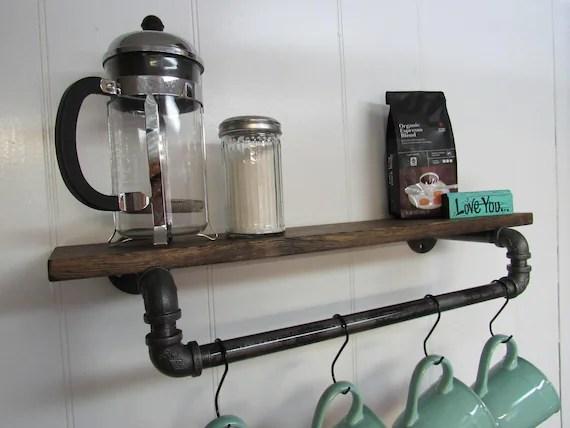 coffee mug rack shelf coffee bar mug hanger coffee mug etsy