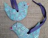 Mosaic Bird Ornaments/Little Birdie Ornaments/Mosaic birdie ornaments/ Colorful birdies/Bird art/mosaic birds/small birds/handing birds
