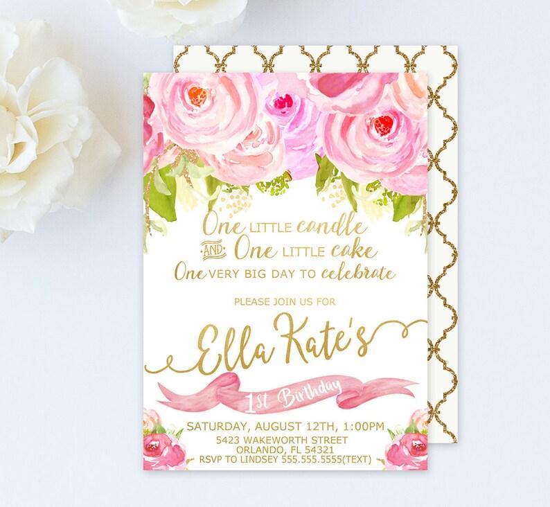 1st birthday invitation girl 1st birthday invitation baby girl first birthday invitation floral pink and gold 1st birthday invitation