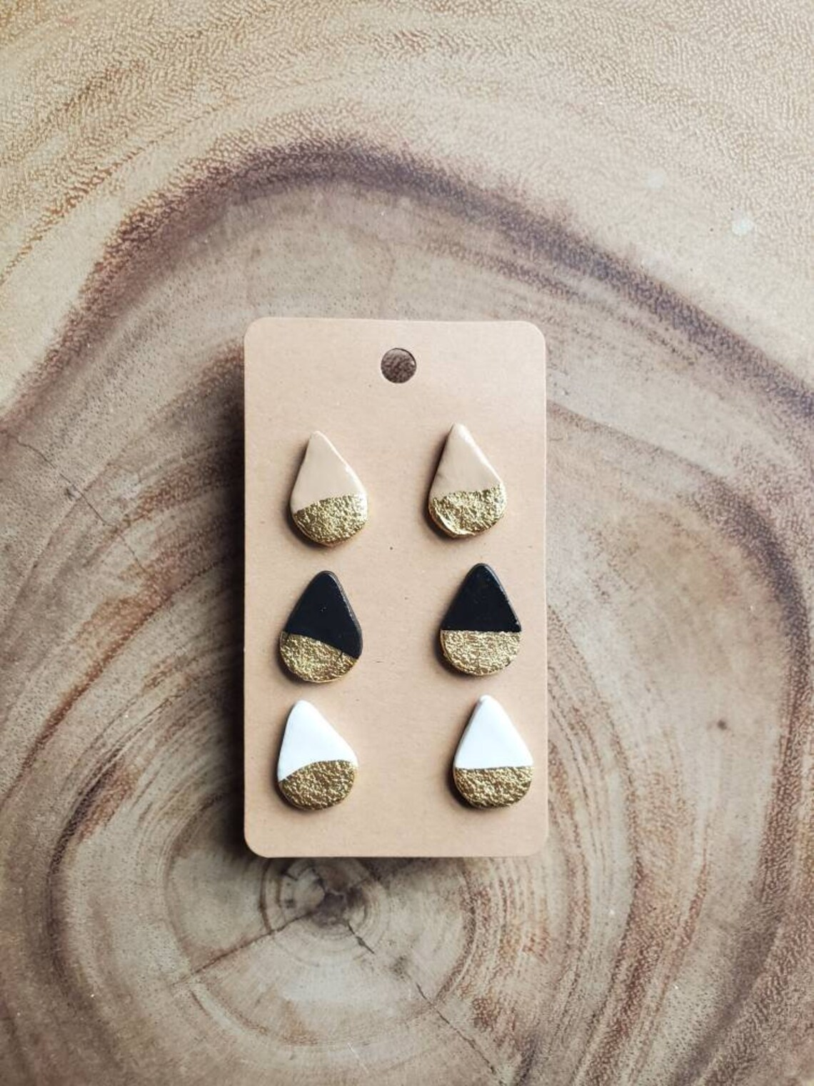 Handmade hypoallergenic clay earring studs Neutral gold