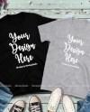 Couple Two Black Grey T Shirts Mockup Gildan 64000 Fall Flat Etsy