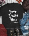 Fall Mockup Black Gildan 64000 Tshirt Styled Autumn T Shirt Etsy