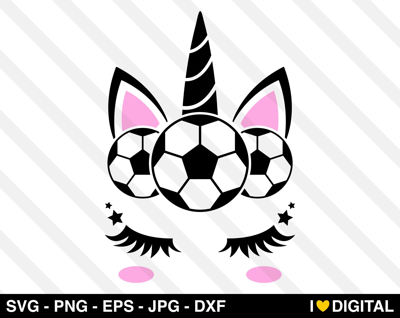 Unicorn Face Svg Vector Soccer Ball Team Futbol Football