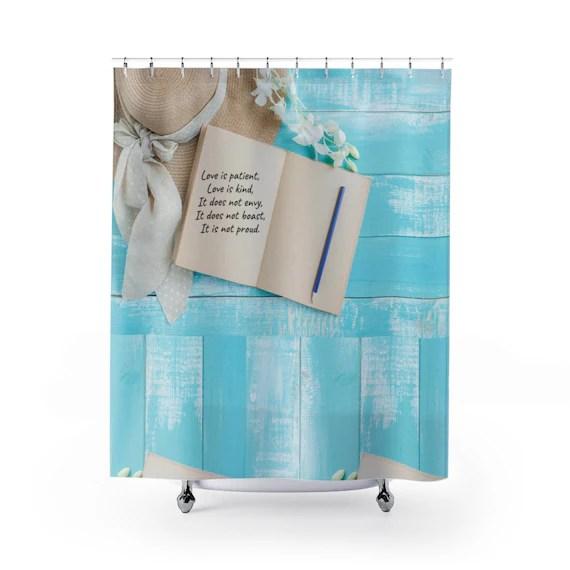 love shower curtain scripture shower curtain bible verse shower curtain beach house shower curtain christian bath set cottage chic