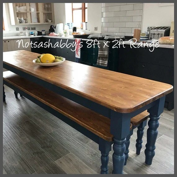 Farmhouse Dining Table 8ft X 2ft New Narrow Handmade Bespoke Etsy