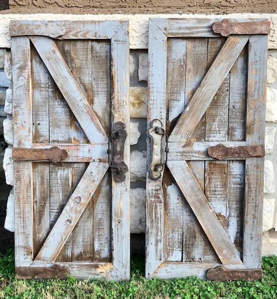 pair gray barn doors rustic wall decor farmhouse doors etsy Rustic Gray Barn Door id=22388