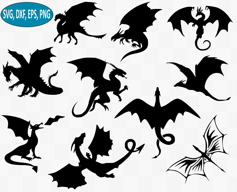 Dragon Svg Bundle Drangons Svg Dragon Silhouette Dragon
