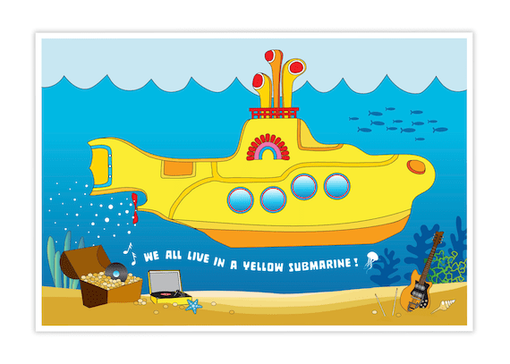 under the sea yellow submarine poster 13x19 printed product beatles party decorations we all live in a yellow submarine beatles art